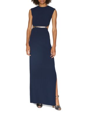 Metallic Leather Trim Gown by Halston Heritage