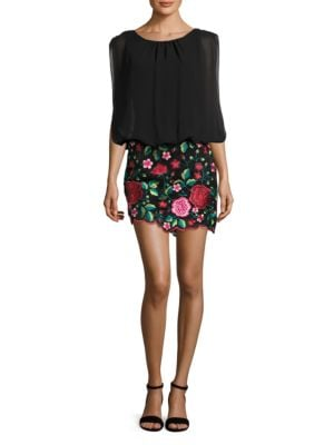 Embroidered Sleeveless Blouson Dress by Aidan Aidan Mattox