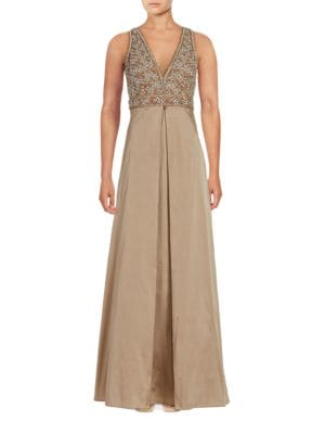 Sleeveless Beaded Empire Waist Gown by Aidan Aidan Mattox