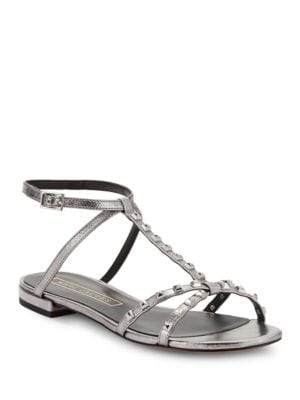 Ana Studded Metallic Leather Sandals by Marc Jacobs