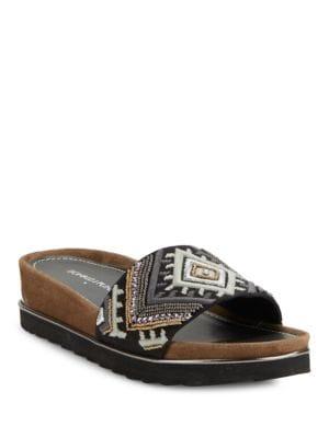 Embroidered Slip-On Platform Sandals by Donald J Pliner