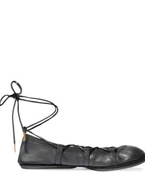 Seleste Leather Lace-Up Ballet Flats by Yosi Samra