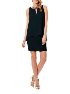 Embellished Chiffon & Jersey Dress by Laundry by Shelli Segal