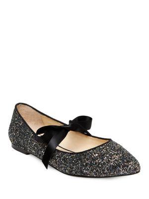 Lia Glittered Point Toe Flats by Betsey Johnson