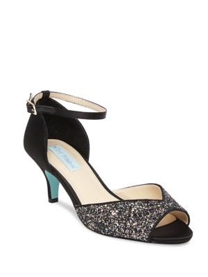 Rita Glittered Kitten Heel Pumps by Betsey Johnson