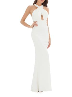 Halterneck Crisscross Back Evening Gown by Js Collections