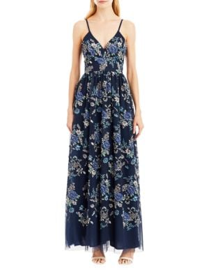 Floral Printed V-Neck Gown by Nicole Miller New York