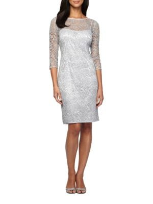 Three Quarter Sleeve Sequined Lace Illusion Sheath Dress by Alex Evenings