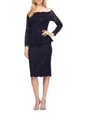 Off-The-Shoulder Mock Peplum Lace Dress by Alex Evenings