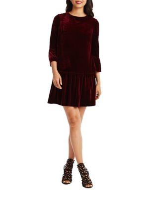 Pleated Drop Waist Velvet Dress by Donna Morgan