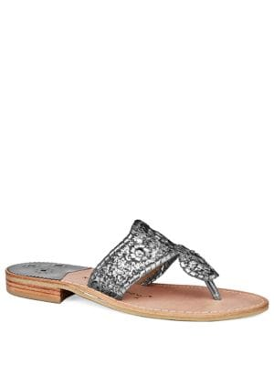 Cleo Sparkle & Leather Slides by Jack Rogers