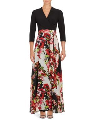Three Quarter Sleeve Two-Tone Floral-Print Gown by Chetta B