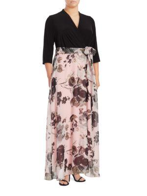 Floral Contrast Maxi Dress by Chetta B
