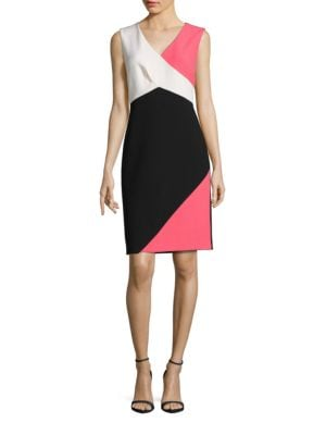 Sleeveless Colorblocked Sheath Dress by Ellen Tracy