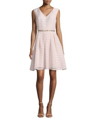 Sleeveless Burnout Striped Fit-and-Flare Dress by Ellen Tracy