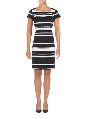 Short Sleeve Striped Sheath Dress by Ellen Tracy