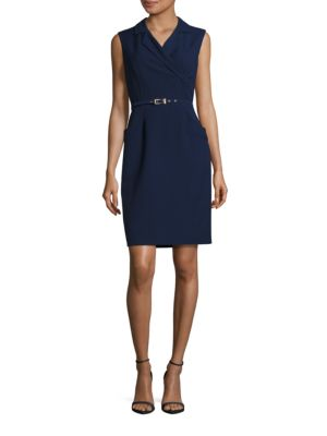 Sleeveless Belted Sheath Dress by Ellen Tracy