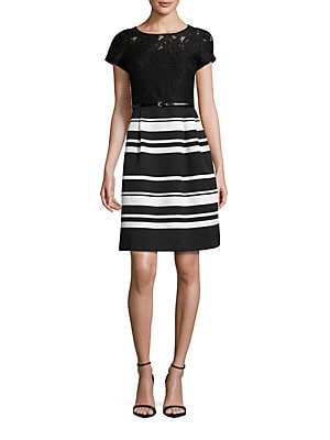 908e4ce2daa Ellen Tracy - Short Sleeve Striped and Lace