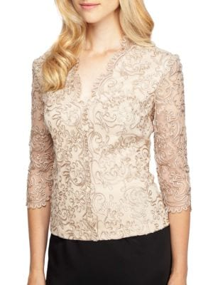 Plus Scalloped Embroidered Top by Alex Evenings