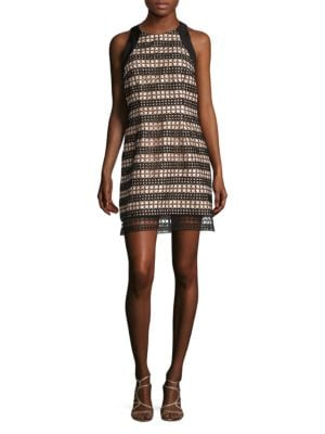 Lace Overlay Shift Dress by Carmen Marc Valvo