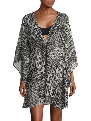 Aztec-Print V-Neck Cover-Up by J Valdi