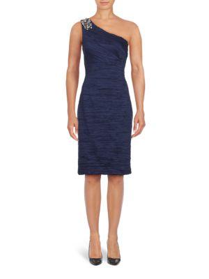 Solid Ruched One Shoulder Sheath Dress by Eliza J