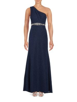 Asymmetric Neckline Embellished Gown by Eliza J