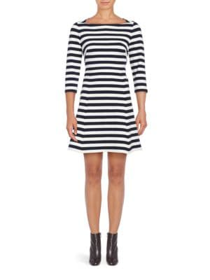 Bateau Neck Three-Fourth Sleeve Striped Dress by Eliza J