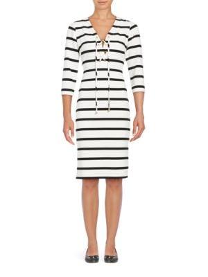 Striped V-Neck Dress by Eliza J