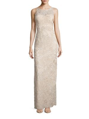 Sleeveless Embroidered Illusion Column Gown by Aidan Aidan Mattox