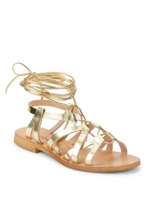 Cleo Leather Lace-Up Sandals by Cocobelle