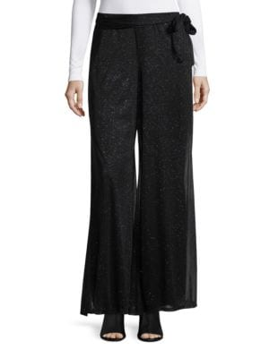 Pull-On Chiffon Glitter Palazzo Pants by Marina