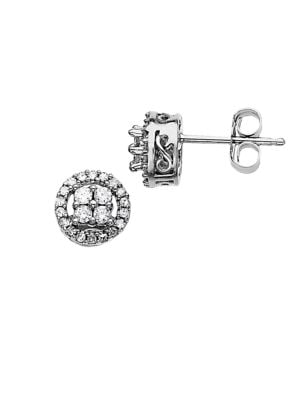 Image of 0.25 ct t w Diamond Stud Earrings in 14 Kt White Gold