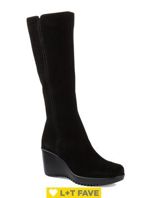 Gaby Waterproof Tall Suede Wedge Boots by La Canadienne