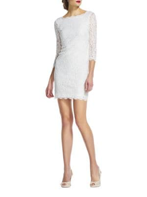V-Back Lace Dress by Adrianna Papell