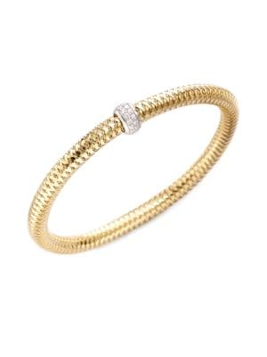 0.22 TCW Primavera Diamond & 18K Yellow Gold Woven Bracelet