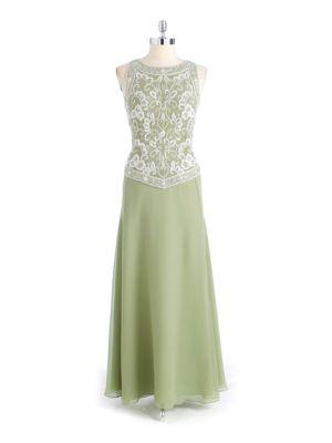 Sleeveless Beaded Chiffon Dress by J Kara