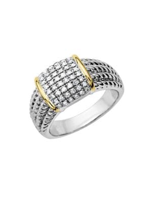 Image of 0.25 TCW Diamond Accented Ring in Sterling Silver with 14 Kt. Yellow Gold