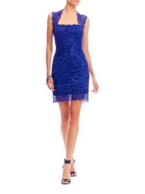 Stretch Lace Cutout Back Dress by Nicole Miller