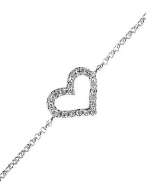 Pave Classica Diamond and 14K White Gold Heart Bracelet