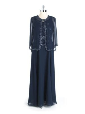 Two Piece Beaded Gown by J Kara