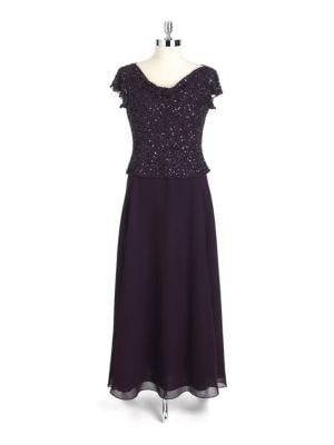 Petite Beaded Flutter Sleeve Dress by J Kara