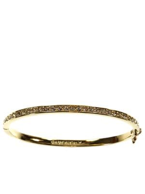 Image of 10Kt. Gold Plated Brass and Crystal Bangle Bracelet