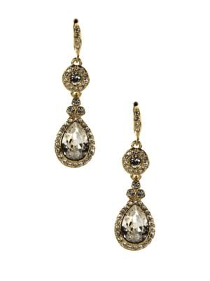Image of 10Kt. Gold Plated and Swarovski Crystal Teardrop Earrings