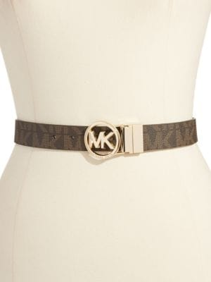 Leather Belt with Gold...