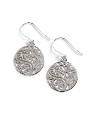 Sterling Silver Filigree Tree Drop Earrings