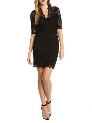 V-Neck Scalloped Lace Dress