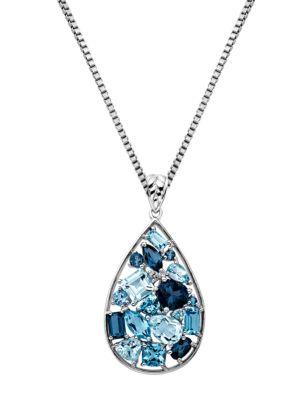 Sterling Silver Multi-Blue...