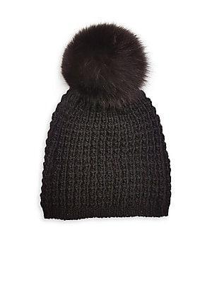 06854d8bc50 kyi kyi - Fox Fur Pom-Pom Beanie - lordandtaylor.com
