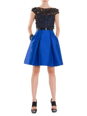 Bow Applique Pleated A-Line Dress by Theia